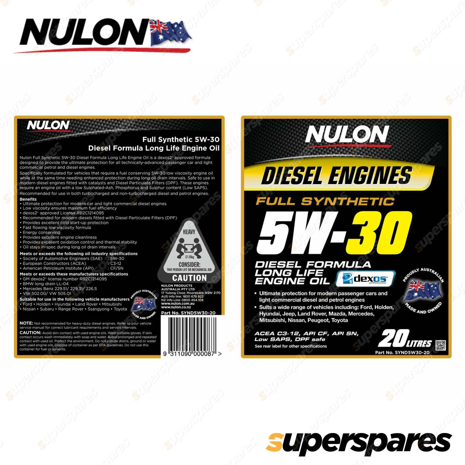 Details about Nulon Full Synthetic 5W-30 Diesel Formula Long Life Engine  Oil 20L SYND5W30-20