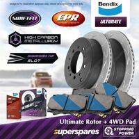 Bendix Rear Disc Rotors + Brake Pads for Audi Q7 4L 3.0 4.2 6.0 TDI TFSI quattro