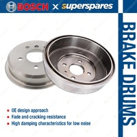 2 x Bosch Rear Brake Drums for Toyota Hiace KDH 200 201 205 206 220 221 222 223