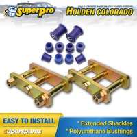 Extended Greasable Shackles & Superpro Bushings kit For Holden Colorado RC 08-12