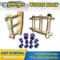 Extended Greasable shackles & Superpro bushings kit for Toyota Hilux LN YN67 97-05