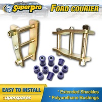 Extended Greasable Shackles & Superpro Bushings kit For FORD COURIER 4WD 87-06