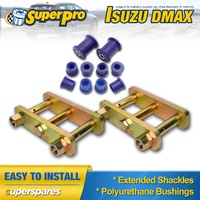 Extended Greasable Shackles & Superpro Bushings kit for Isuzu Dmax gen1 08-11