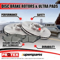 Protex Rear Brake Rotors + Ultra Pads for Toyota Prado VZJ95 KZJ95 LZJ95 RZJ95